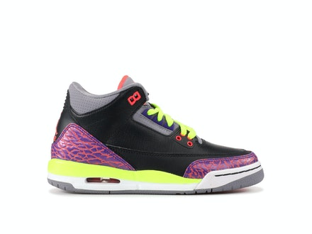 Air Jordan 3 Retro GS Black Atomic Red Volt