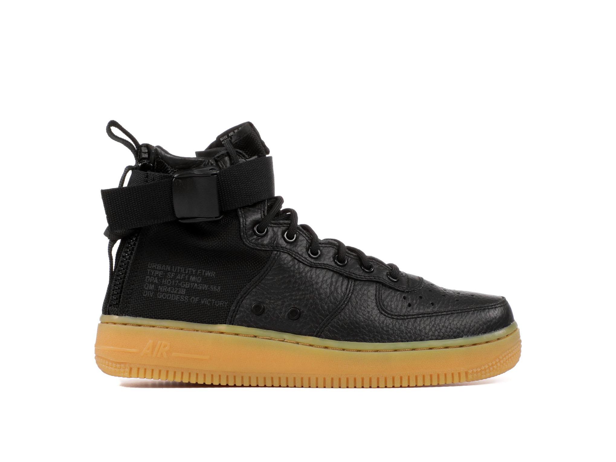 Shop SF Air Force 1 Mid GS Black Gum Online | Laced